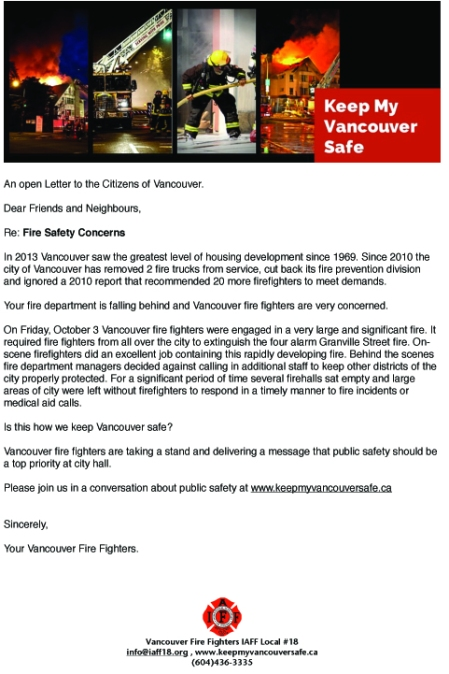 Letter to Vancouver Citizens