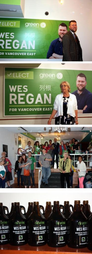 (1) Wes Regan (2) Elizabeth May (3) part of the crowd (4) growlers for Regan