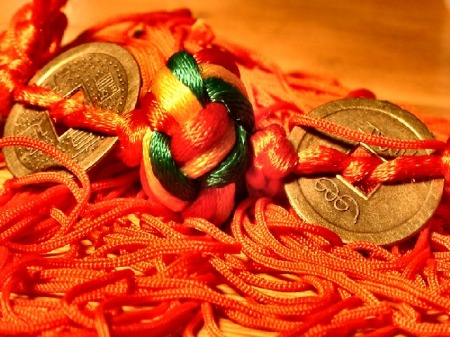 red rope silk knot and coins