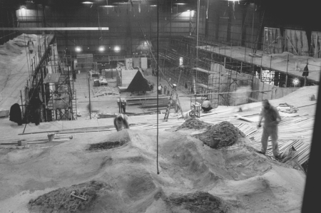 Construction of the lunar monlith set (when the monolith design was still a pyramid)