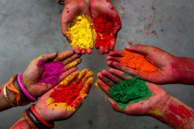 Holi festival -Colors - Hands - India