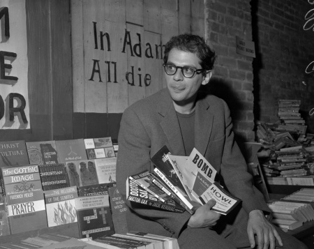 Allen Ginsberg Chronicle negative, No other information on envelope. Holding a copy of Dr. Sax by Jack Kerouac. Taken at City Lights bookstore? oursfmag_ginsberg 06/02/1959